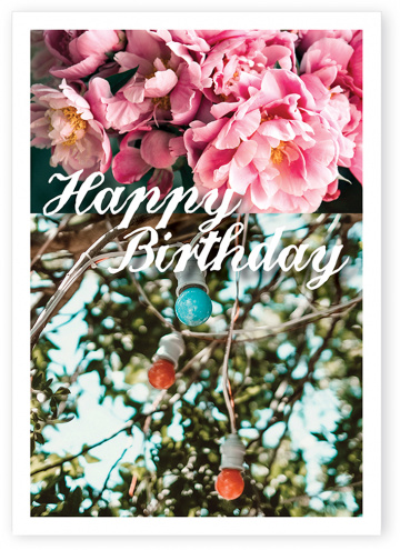 Postkarte Happy Birthday Lichterkette