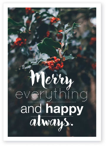 Postkarte Merry everything