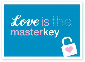 Postkarte Love ist the masterkey